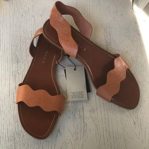 Zara tan leather sandals NWT